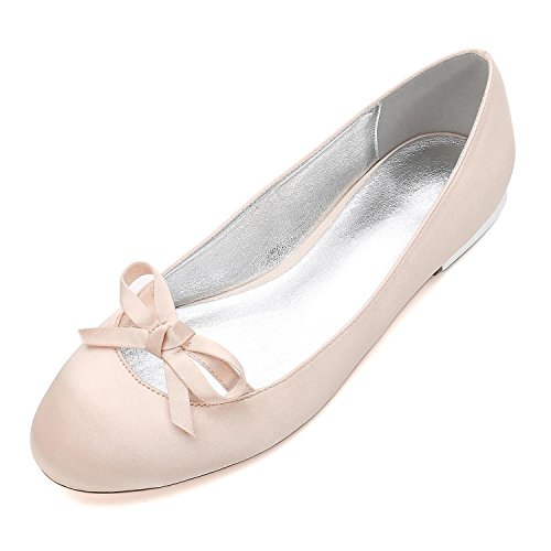 L@YC Womens Wedding Shoes 5049-22 Satin Prom Wedding Bridal Ladies Bowknot Heel Party Court Shoes Champagne EGuPz