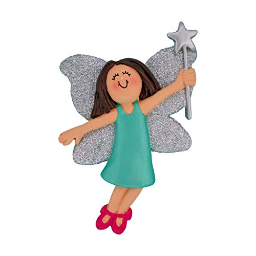 Personalized Fairy Princess Christmas Tree Ornament 2019 - Beautiful Brunette Girl Teal Dress Slippers Silver Glitter Wings Star Wand Rhinestone Pixie Toy - Free Customization (Brown Hair - Wand Silver Glitter