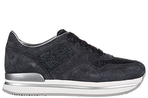 Hogan Chaussures Sneakers Femmes En Daim Nouvelle H222 Sportive Xl Bleu Lacé
