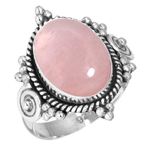 925 Sterling Silver Ring Natural Rose Quartz Handmade Jewelry Size 10.5