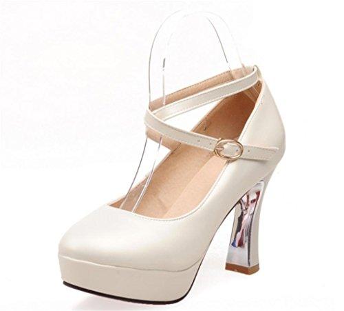 las el de Correas para de calidad fiesta MNII dedo Tacones de cerradas beige estilete bombas vestido del Buena mujeres pie del de altos acentuado boda wqxddC5E6