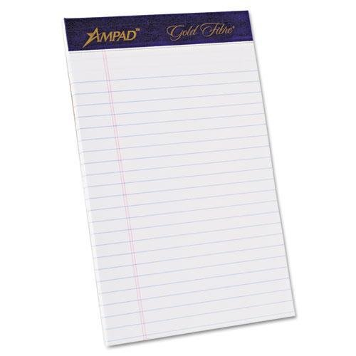 Ampad 20018 Gold Fibre Writing Pads, Jr. Legal Rule, 5 x 8, White, 50 Sheets, 4/Pack
