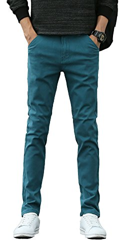 Plaid&Plain Men's Skinny Stretchy Lake Blue Pants Colored Pants Slim Fit Slacks Tapered Trousers 819 Lake Blue 33