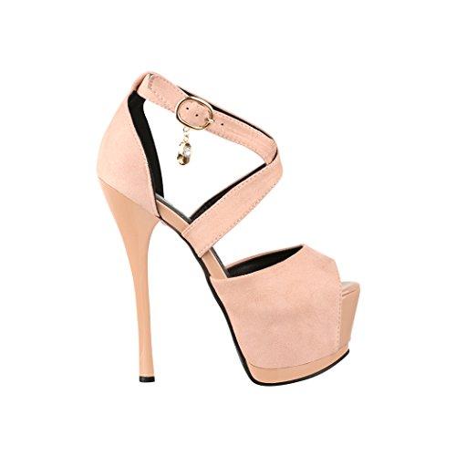 Elara Damen Pumps   Moderne Cut Out Stilettos   Peep-Toe High Heels   Chunkyrayan Pink