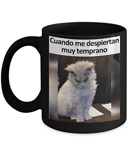 CUANDO ME LEVANTAN TEMPRANO | Taza cafe, tazas para caf divertidas, tazas de caf personalizadas, taza de caf inspiradoras, taza grande de cafe con mensajes positivos | Cafe Tazas de ceramica