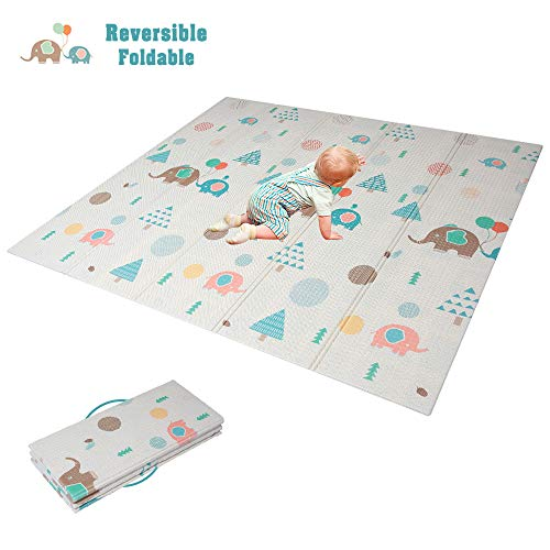 HAN-MM Baby Folding Mat Baby Playmat Foam Floor Slip Extra Large Foam Reversible Waterproof Portable Double Sides Kids Baby Toddler Outdoor or Indoor Use Non Toxic 77x69x0.4in Elephant