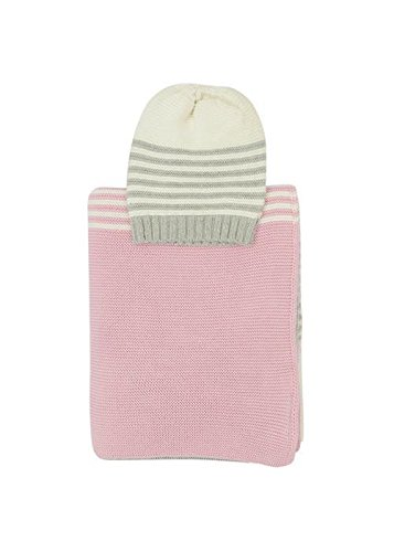 Sia Baby Blanket And Beanie Set Lt. Pink Grey Combo
