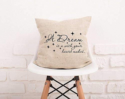alerie Sassoon Home Decor A Dream is A Wish Your Heart Makes Pillowcase Cover Stars Pillowcase Decorative Pillowcase Nursery Decor Kids Pillowcase Natural Burlap Nursery