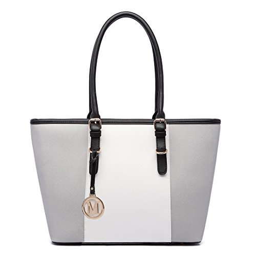ur Saffiano Women's ladies Designer Celebrity Tote Bags Faux Leather Style Large Shoulder Shopper Handbags (1661 Grey) ()