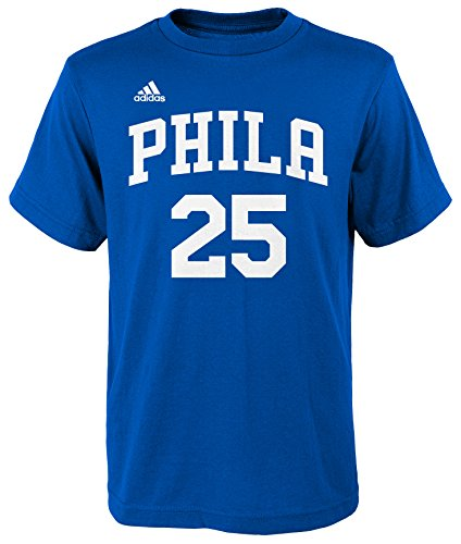 76ers Youth Jersey (Adidas NBA Youth Ben Simmons Philadelphia 76ers Player Name and Number Jersey T-Shirt, Youth Large, Blue)