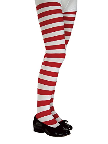 Rubie's Red and White Striped Tights - Child - Large]()