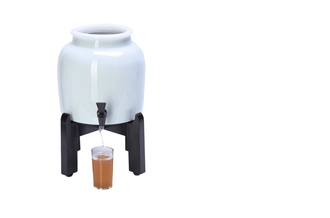 Get Kombucha Continuous Brew Kit with 2.5 Gallon Porcelain Brewing Vessel & Handcrafted Wood Brewer Stand
