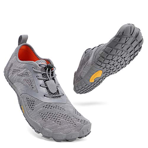 ALEADER hiitave Men/Womens Minimalist Barefoot Trail Running Shoes Wide Toe Glove Cross Trainers Hiking Shoes Gray 9.5 M US Men's/ 11 M US Women's