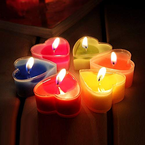 Lanlan9 Pieces Mixed Color Heart Shaped Smokeless Scented Candles Wedding Decoration Valentine's Day Gift Romantic Candle -