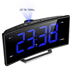 [Update Version]Digital Projection Clock, Atmoko FM Radio Alarm Clock with USB Charging Port, Dual Alarms, Snooze Function, 2-inch Large LED Display with Dimmer, Sleep Timer