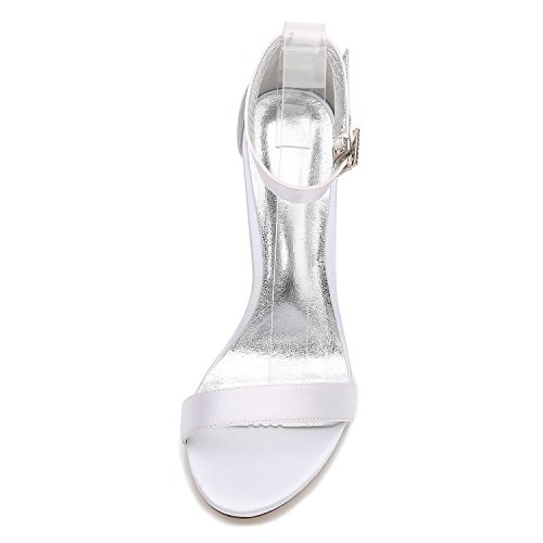 L@YC F2615-9 Womens Wedding Crystal With Satin Low Heel Peep Toe Prom Party Dance Shoes Wommen Pumps Silver vwPLI