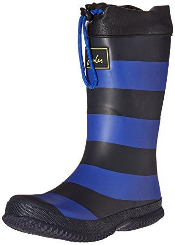 Joules Kid's Winter Welly Rain Boot, Slate Blue Stripe, 3 M US Little Kid