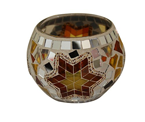 Kobwa(TM) Mosaic Glass Votive Candle Light Holder Table Decoration Centerpiece (Golden) with Kobwa's Keyring