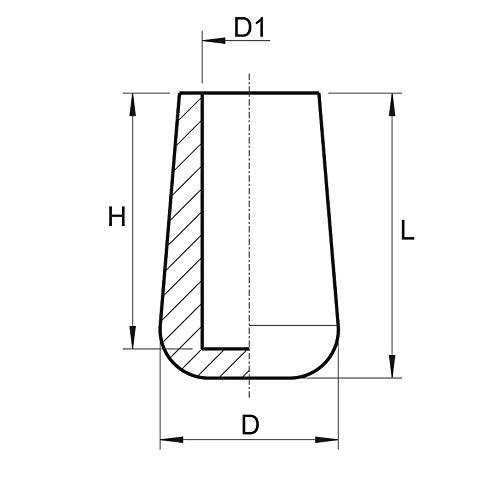 ALLE GR/Ö/ßEN W/ÄHLBAR 30mm bis 90mm Stuhlbeinkappen Schutzkappen Gleitkappen M/öbelgleiter PVC F/ür Rohrau/ßen-/Ø: 49-50mm 10 St/ück Kunststoff-Rohrkappen