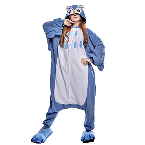Amurleopard Coverall Pajamas Hoodie Animal Costumes Cosplay Blue Owl L -