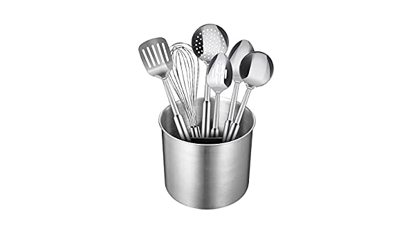 18-Pi Black and Gold Cooking Utensils with Stainless Steel Gold Utensil Holder