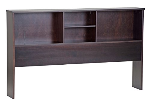 "Palace Imports 2546 100% Solid Wood Kansas Bookcase Headboard Color 36""H x 59.5""W x 9""D, 1 Shelf Included Mate's Bed Sold Separately. Requires Assembly, Full, Java by Palace Imports"