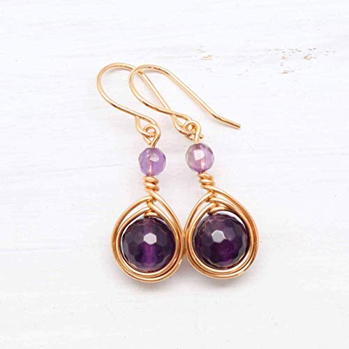 ire Wrapped Earrings with Amethyst gemstones ()