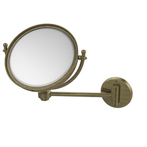 Allied Brass WM-5/3X-ABR 8 Inch Wall Mounted Make-Up Mirror 3X Magnification Antique Brass