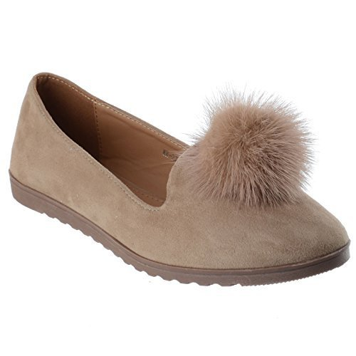 LADIES WOMENS GIRLS NEW SUEDE STYLE FLAT SLIP ON BALLET PUMPS DOLLY POM POM FUR LOAFERS BROGUE SHOES SIZE Beige Suede