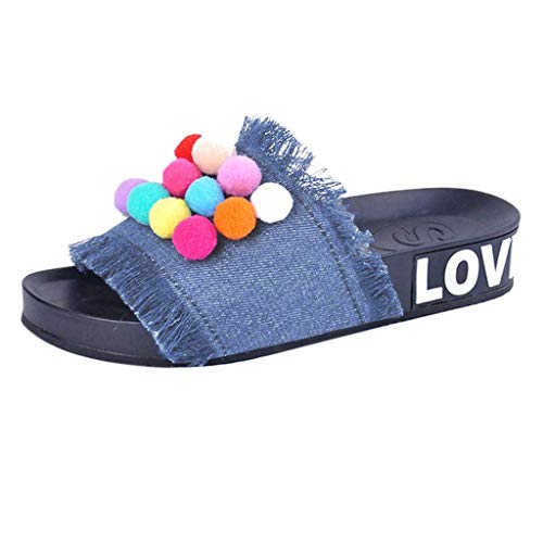 Respctful_shoes for Women Colorful Denim Slipper Soft Sole Slip On Mules Summer Shoe Platform Footbed Sandal Slippers