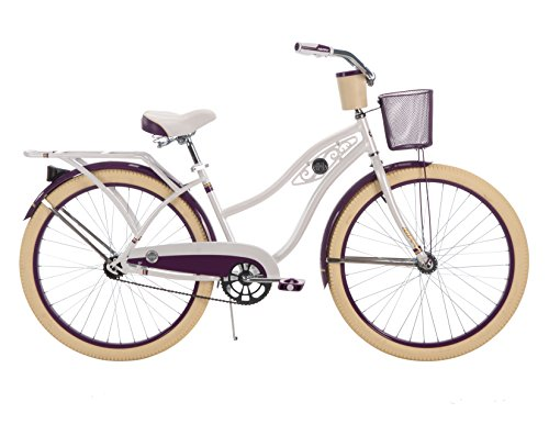 26-inch Huffy Deluxe Single-Speed Women's Cruiser Bike, Pearl White (Ladies Bicycle With Basket)