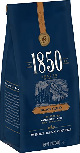 (1850 Black Gold, Dark Roast Coffee, Whole Bean, 12 Ounces)