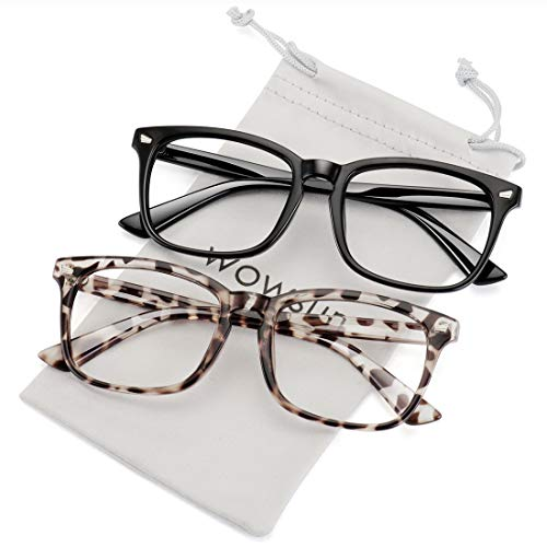 WOWSUN Non Prescription Glasses for Women Men,Clear Lens Eyeglasses Fashion Nerd Optical Frames Fake Eye Glasses 2 PACK Leopard Black ()