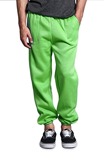 (Victorious G-Style USA Men's Elastic Cuff Fleece Sweatpants - HILLSP - Lime - 2X-Large)