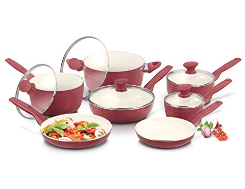ceramic cookware in red - 7