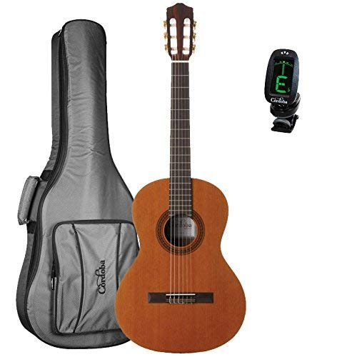 Cordoba Cadete 3/4 Size Nylon String Classical Guitar with Cordoba 3/4 Size Deluxe Gig Bag and Tuner ()