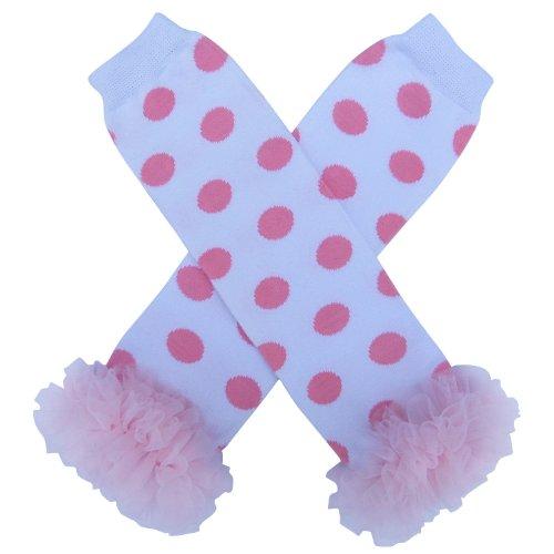 Pink And White Polka Dot Toddler Dress (So Sydney Baby Toddler Girl Polka Dot Tutu Chiffon Ruffle Leg Warmers ... (Pink on)