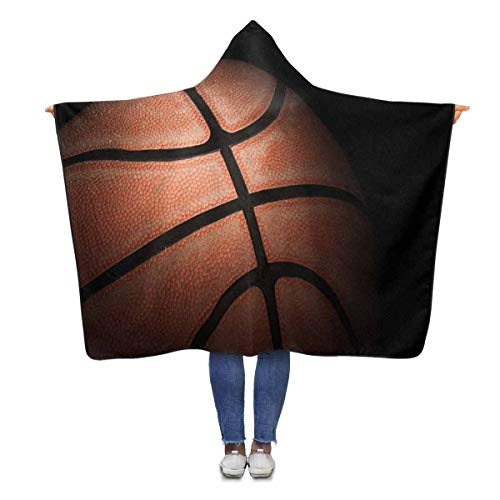 Basketball Hooded (InterestPrint Retro Basketball Wearable Hooded Blanket 80 x 56 inches Adults Girls Boys Blankets Throw Wrap)