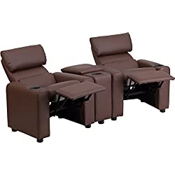"28"" Kid's Brown Leather Reclining Theater Seating w/ Storage Console (1 Set) - FF-BT-70592-BN-LEA-GG"