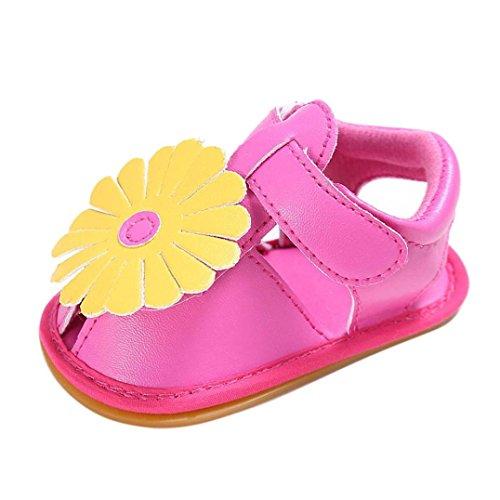 Sandalias Bebe,Tefamore Sandalias Zapatos De Flors Bebé Niño Recién Nacido Suave Suela Antideslizante Zapatillas Primavera y Verano Rosa Caliente