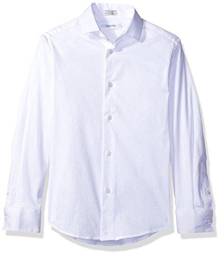 - Calvin Klein Big Boys' Long Sleeve Dobby Button-Down Dress Shirt, Stripe White, 18
