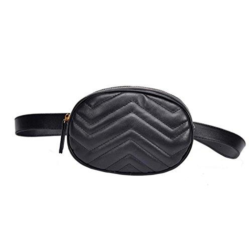 Yuutimko Women Fashion Leather Waist Bag Bumbag Travel Fanny Bag Pouch Pack Black