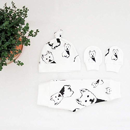 - West Highland Terrier Print Newborn Baby Set Organic Cotton Baby Hat Scratch Mittens 0-3 M Leggings