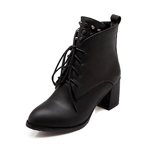 1TO9 Womens Bandage Chunky Heels Rivet Imitated Leather Boots