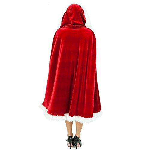 Riveroy Women's Christmas Cardigan Cloak Deluxe Velvet Mrs Santa Hooded Cape Costume (47.2