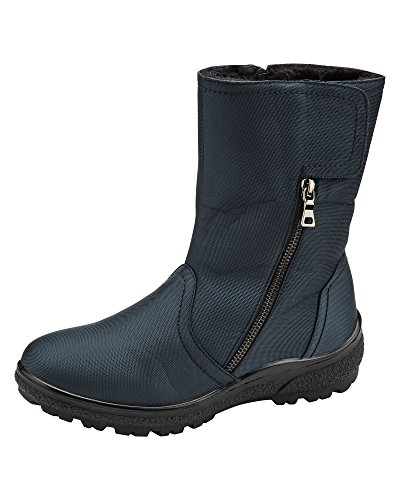 Cotton Traders Womens Ladies Showerproof Adjustable Boots Zipped Faux Fur Lining Size 4 Navy