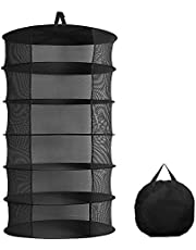 Herb Drying Rack, 6 Layer Collapsible Mesh Hanging Drying Net, Black Round Net Dryer for Garden Hydroponic Plant, Drying Clothes