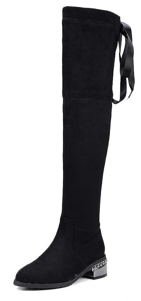 Aisun Damen Spitzen Niete Overknee Blockabsatz Langschaft Seiden Schnürung Stiefel Mit Reißverschluss