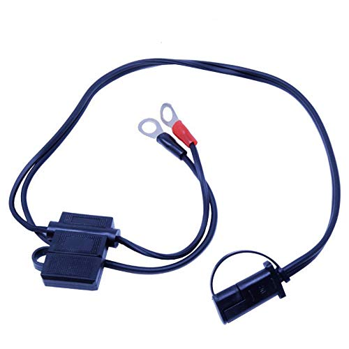 12V Battery Ring Terminal Charger Harness with Fuse 2-Pin Quick Disconnect Plug