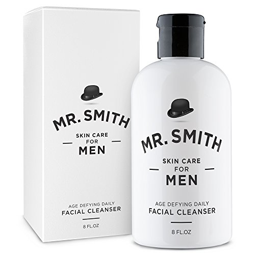 Mr. Smith Co. Daily Face Cleanser for Men 8oz. Exfoliating facial wash and acne scrub. Gentle on skin.